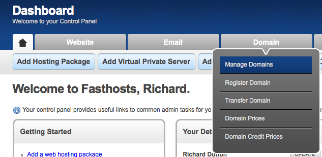 Fasthosts Dashboard - Manage Domains