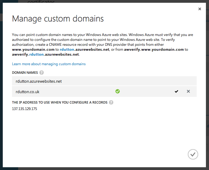 Azure Dashboard - Manage Custom Domains Success